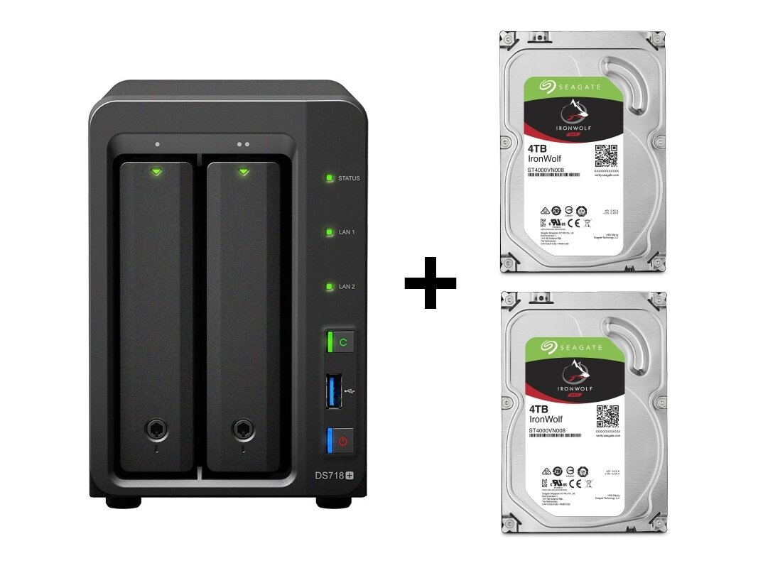 Nas Synology DS718+ avec 2x 4 To IronWolf pour 594,99 euros