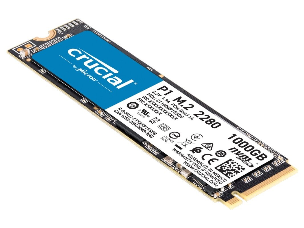 SSD M.2 Crucial 1 To P1 (NVMe, 2 Go/s) à 94,91 euros