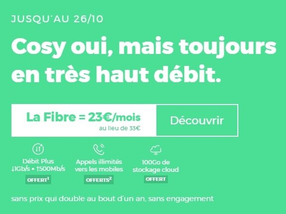 [Prolongation] Box RED by SFR Fibre (1 Gb/s) : 23 € par mois, sans limite de durée