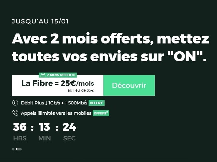 Box RED by SFR Fibre (1 Gb/s, 2 mois offerts) : 25 € par mois