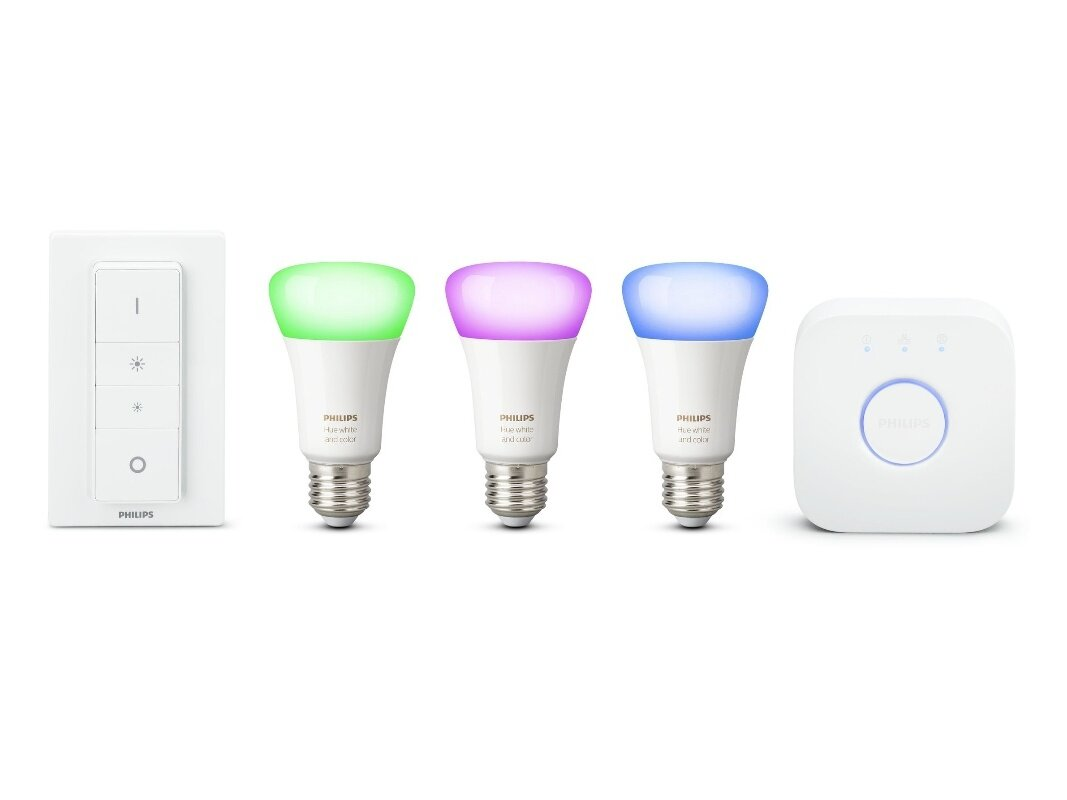 Kit Philips Hue avec 3 ampoules E27 (White and Color), pont et interrupteur  : 119,99 €