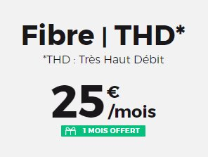 Box Red by SFR Fibre (1 Gb/s, 1 mois offert) : 25 € par mois