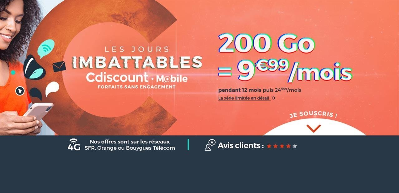 Cdiscount Mobile : Appels, SMS et 200 Go pour 9,99 € pendant 1 an #FrenchDays