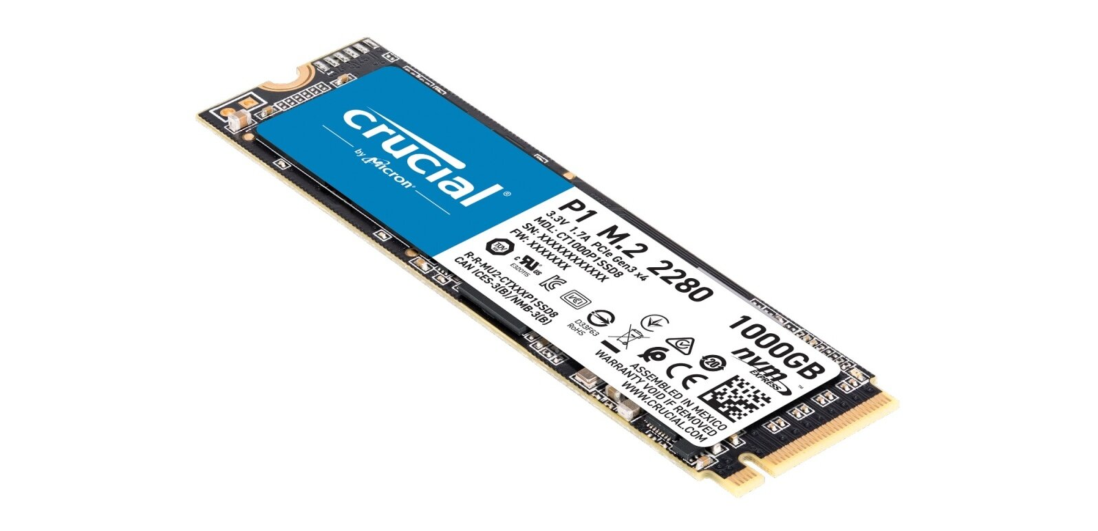 SSD M.2 Crucial 1 To P1 (NVMe, 2 Go/s) à 102,40 euros