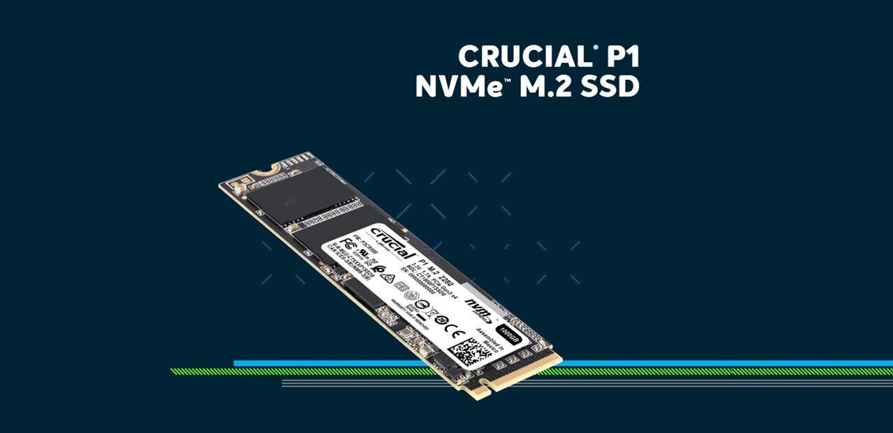 SSD M.2 Crucial 1 To P1 (NVMe, 2 Go/s) à 102,02 euros